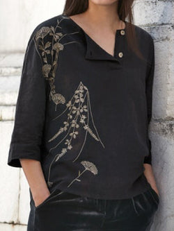 Casual Plus Size 3/4 Sleeve Embroidered Blouse Shirts