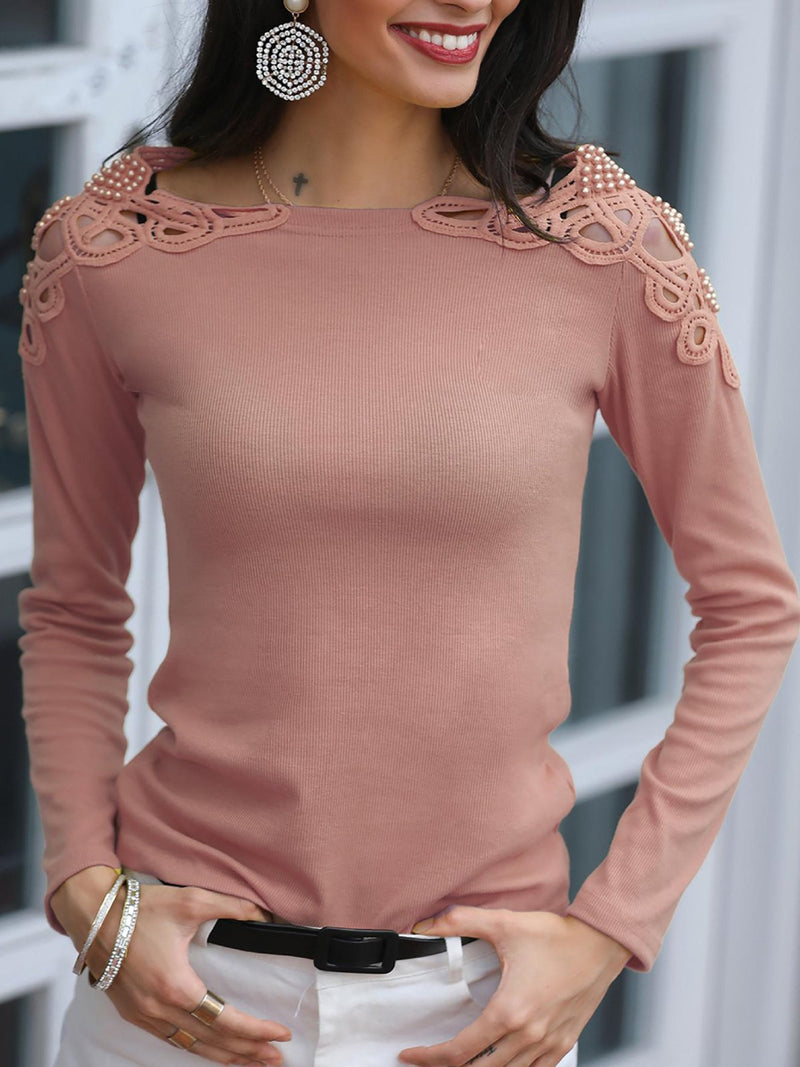 Solid Hollow Out Pearl Beaded Blouse Shirt