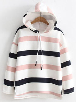 Plus Size Long Sleeve Casual Hoodie Striped Tops