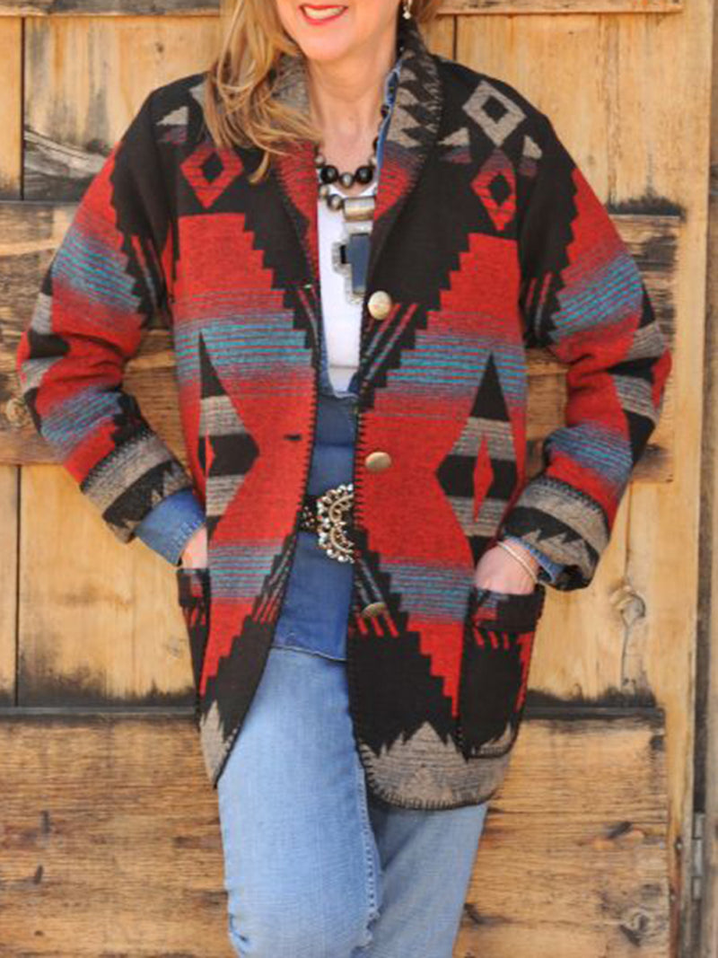 Red Long Sleeve Geometric Boho Cotton-Blend Outerwear