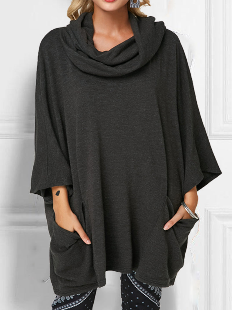 Casual Solid Cowl Neck Cotton-Blend Shirts & Tops
