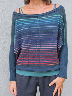 Blue Cotton-Blend Casual Sweater