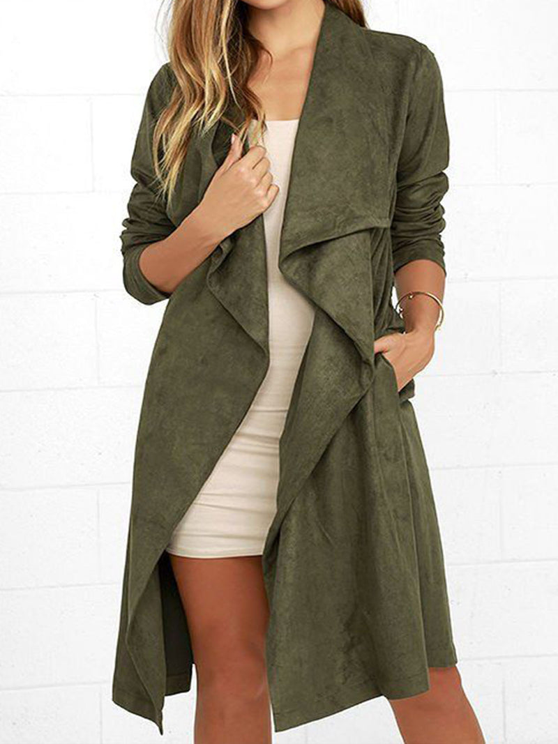 Plus size Casual Faux Suede Outerwear
