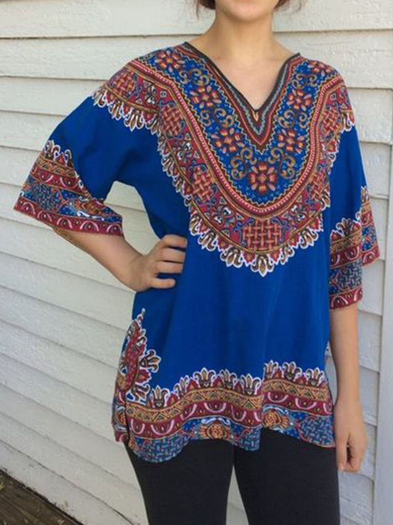 Plus size Tribal Casual Cotton-Blend Shirts & Tops