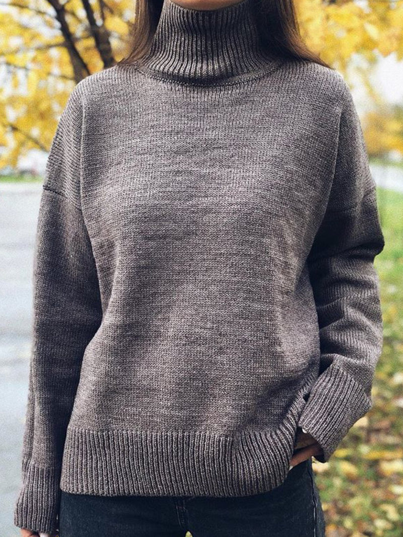 Long Sleeve Turtleneck Solid Casual Sweater