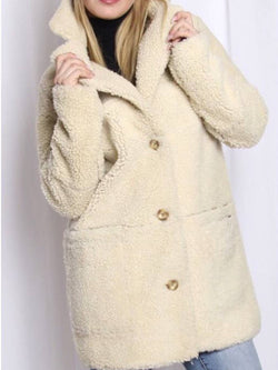 Apricot Faux Fur Long Sleeve Outerwear