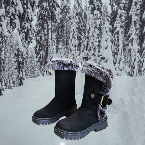 Women New Snow Boots Low Heel Mid-Calf Warm Boots