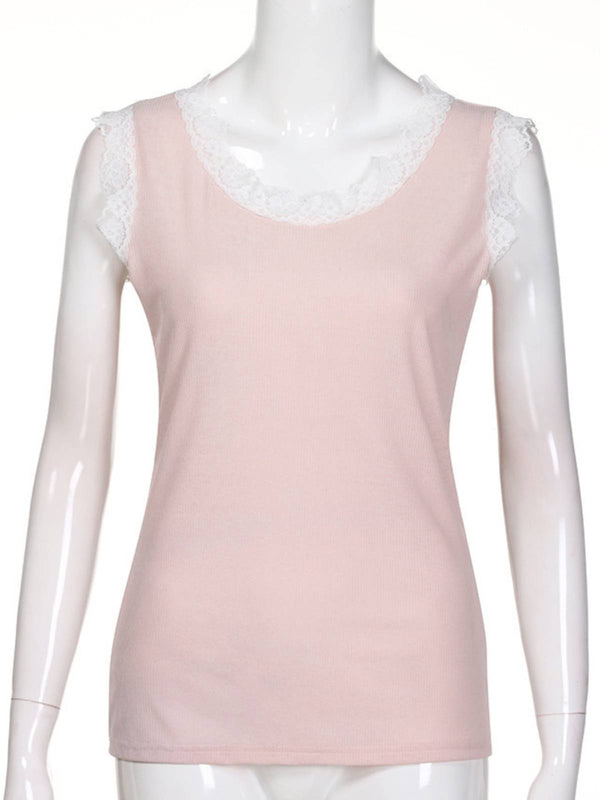 Pink Sleeveless Crew Neck Shirts & Tops