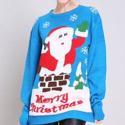 Blue Long Sleeve Cotton-Blend Sweater