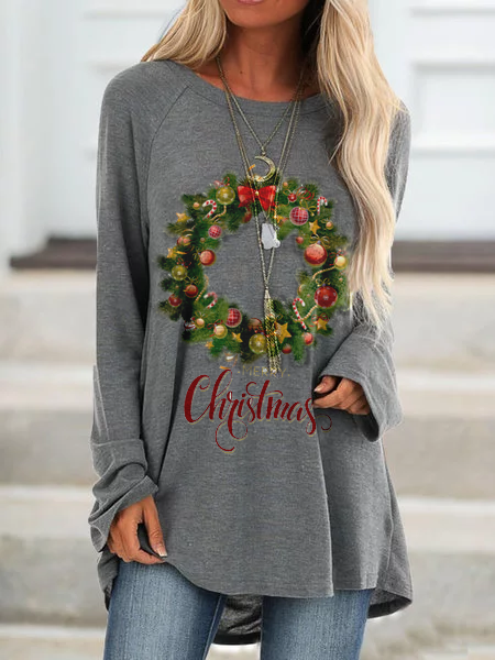 Gray Cotton-Blend Holiday Christmas Shirts & Tops