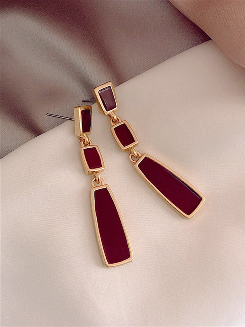 Vintage Gentle Classic Daily Casual Basic Golden Red Earings