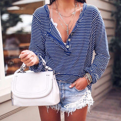 Blue Cotton-Blend Casual V Neck Long Sleeve Shirts & Tops