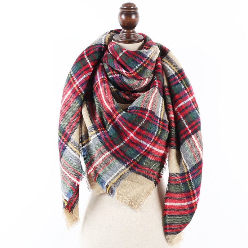 Women Checkered Winter Scarves Shawls