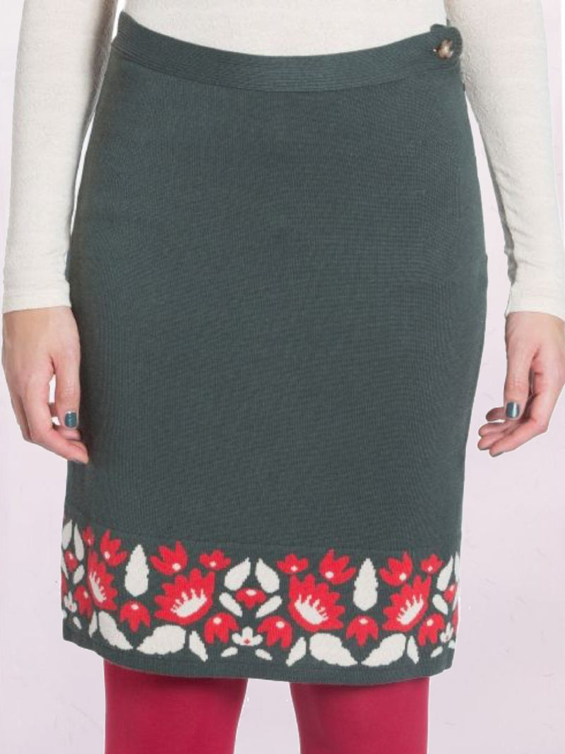 Vintage High Rise Floral Pattern Knitting Skirts