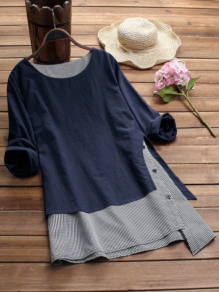 Stripe Patchwork Asymmetrical Long Sleeve Casual T-shirts