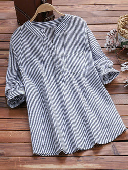 Plus Size Striped Casual Long Sleeve Blouse