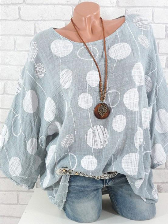 Round Neck Polka Dots Casual Shirts & Tops
