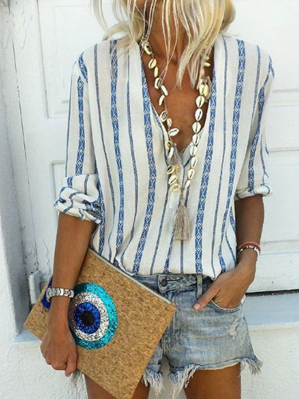 Woman Boho Cotton V Neck Stripe Blouse