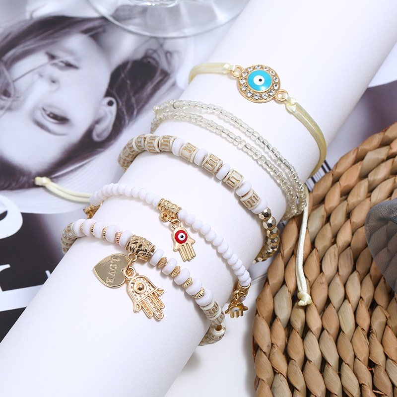 Bohemian Ethnic Bracelet Accessories Eye Palm Love Beaded Jewelry Set of 6