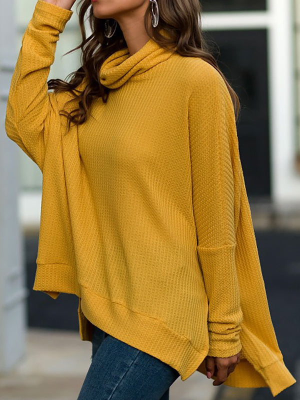 High Low Hem Cowl Neck Long Sleeve Shirts