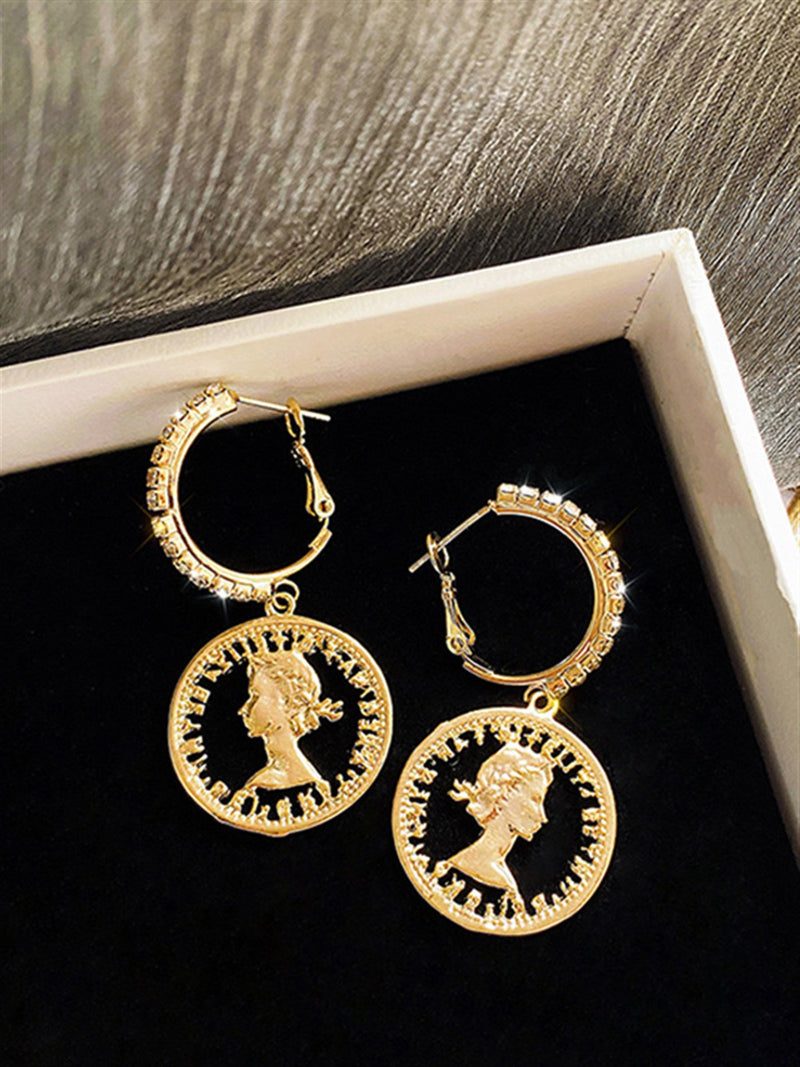 Vintage Casual Basic Daily Golden Metal Earings