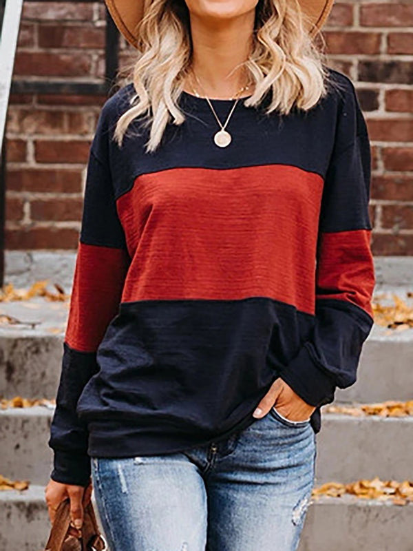 Color-Block Long Sleeve T Shirts