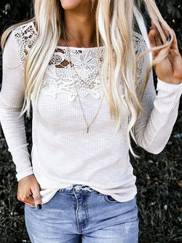 Casual Lace Paneled Long Sleeve Crew Neck T-shirt