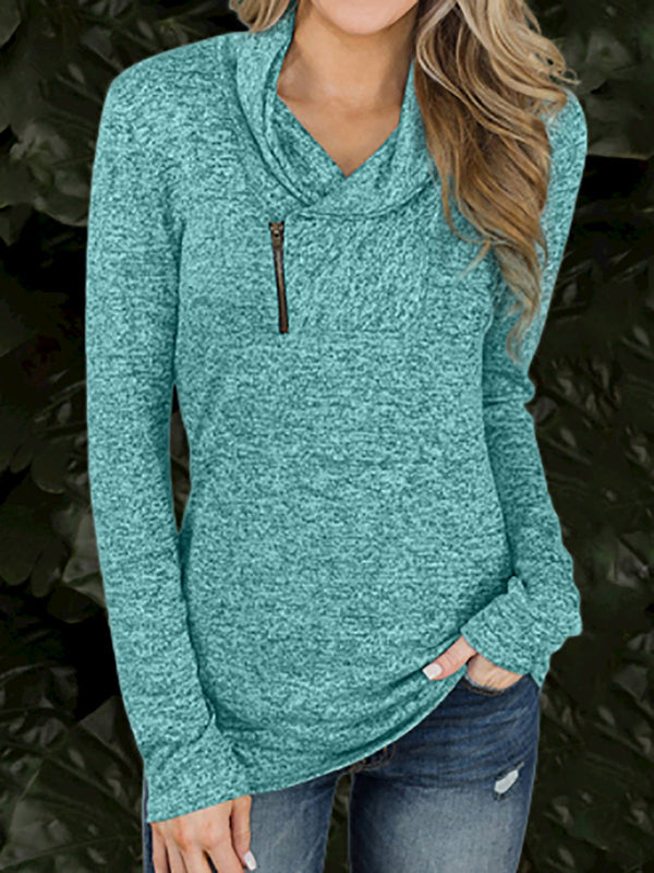 Zipper Cowl Neck Long Sleeve Shirts