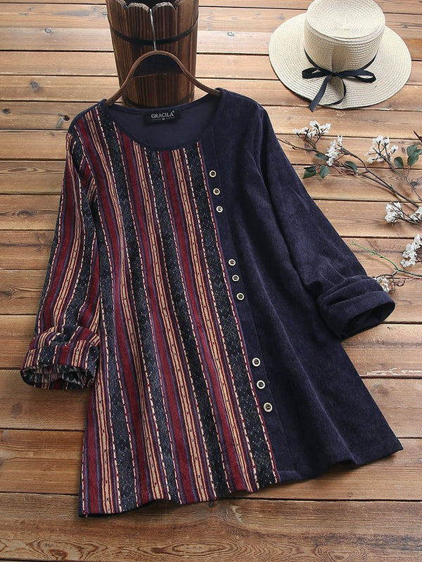 Patchwork Round Neck Long Sleeve Shirts & Tops