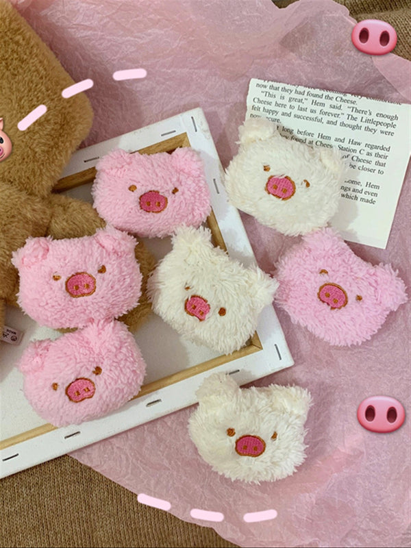 Casual Sweet Cute White Pink Pig Brooch
