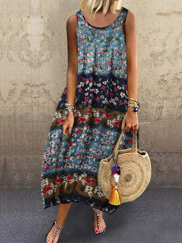 Crew Neck Women Dresses Shift Date Vintage Linen Dresses