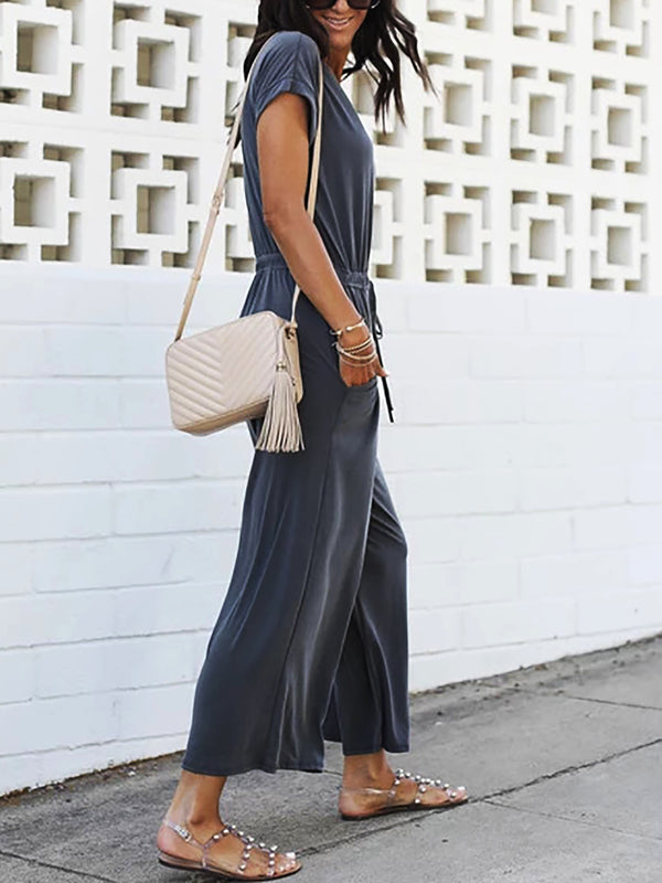 Double Pockets V Neck Short Sleeve Jumpsuits