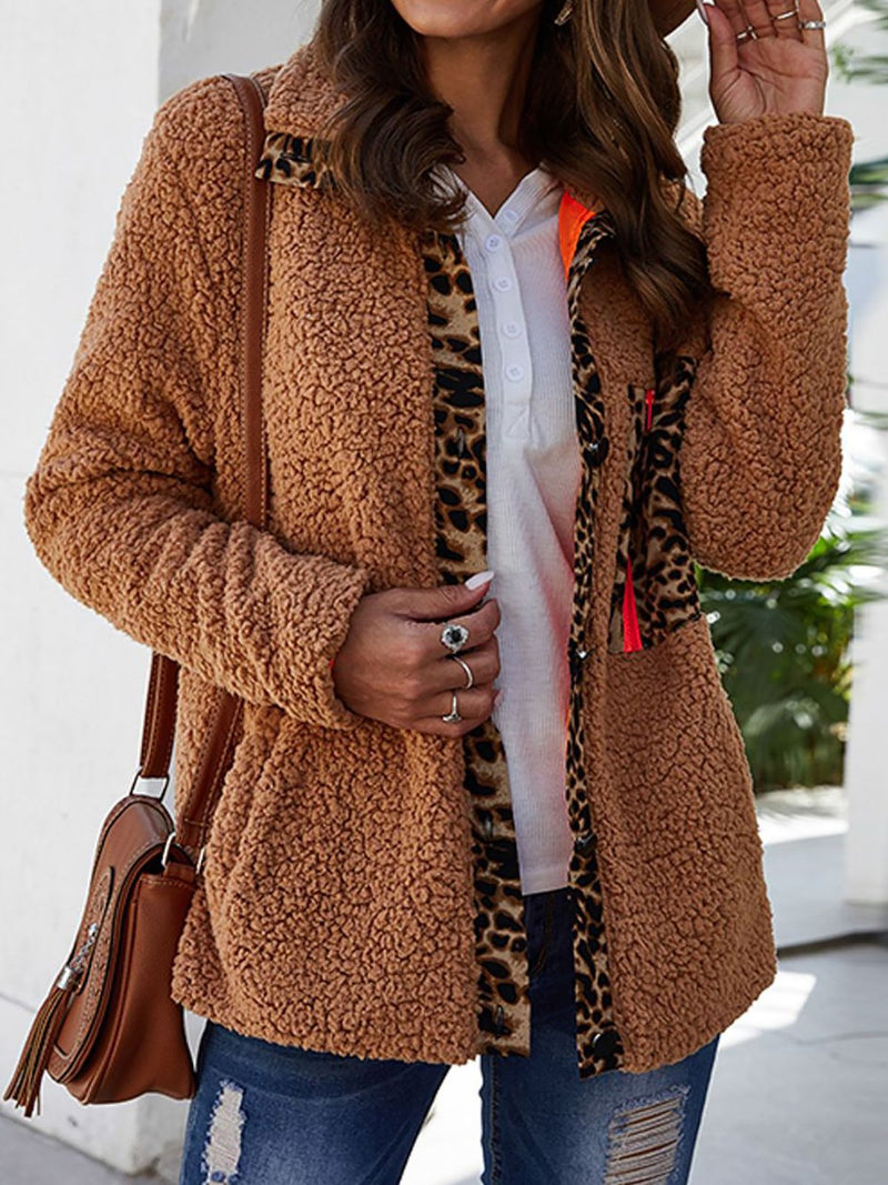 Leopard Paneled Button Down Teddy Coat