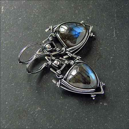 Black Alloy Earrings