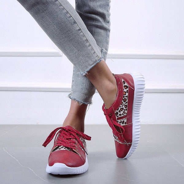 Women Casual Daily Leopard Comfy Lace Up Sneakers