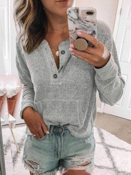 Long Sleeve Sweet Buttoned Sweaters