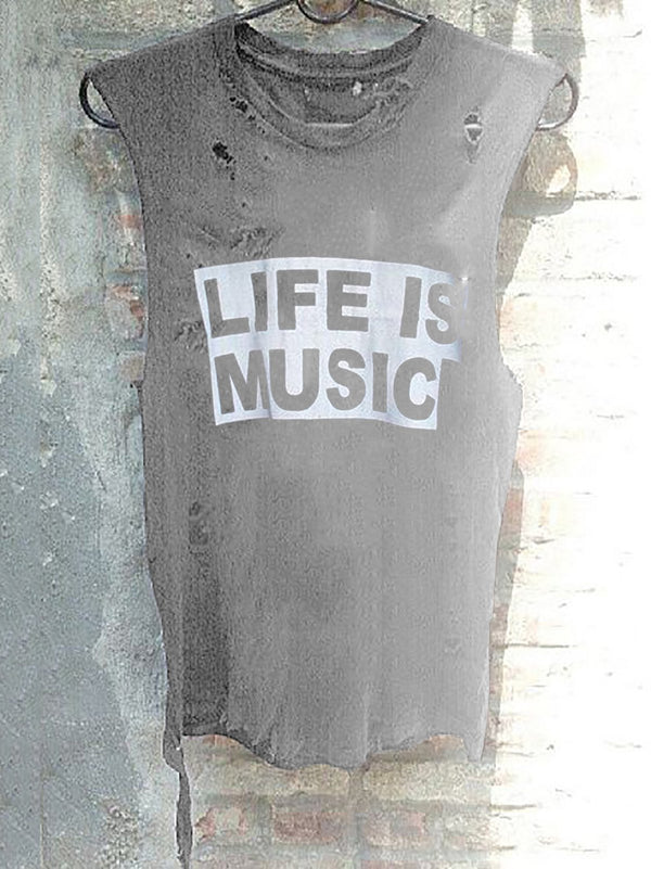 Life Is Music Printed Ripped Tank Tops