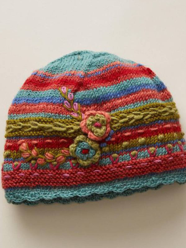 Women Red Casual Vintage Floral Knitted Hats