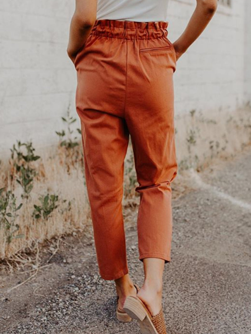 Orange Solid Casual Cotton Shift Pants