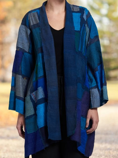 Blue Color-Block Vintage Outerwear