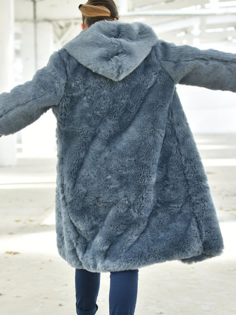Plus size Casual Faux Fur Outerwear