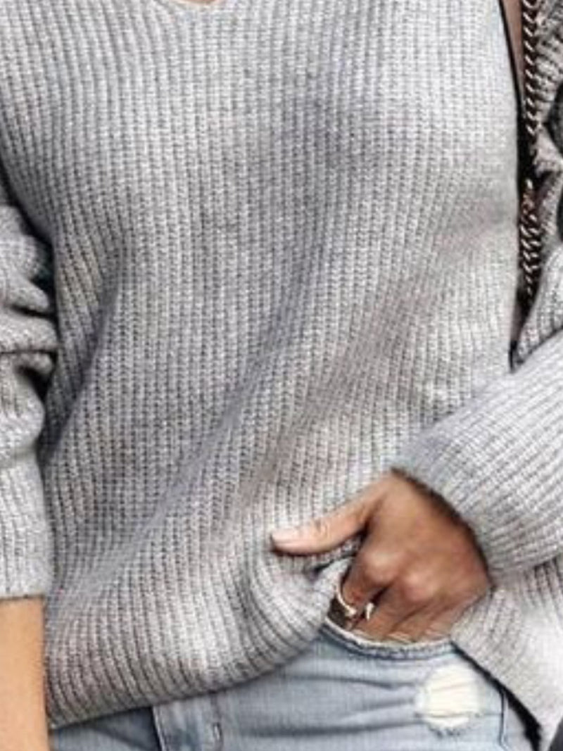 V Neck Casual Long Sleeve Solid Sweater