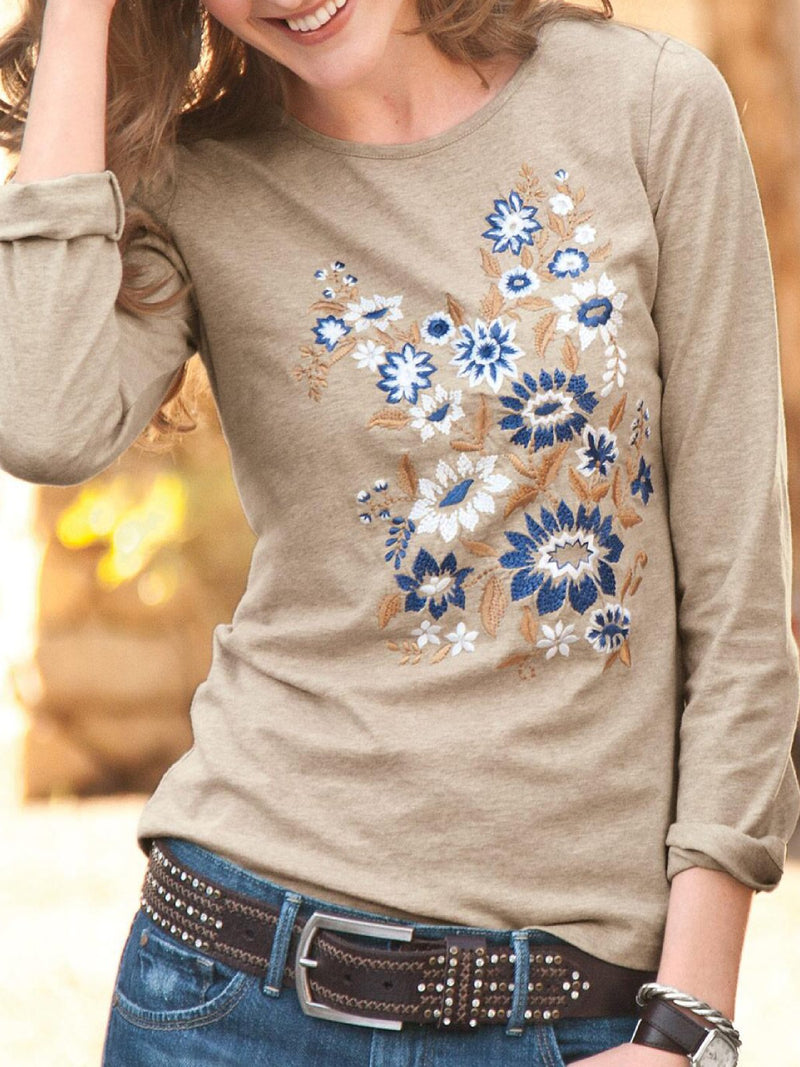 Round Neck Long Sleeve Cotton-Blend Tops