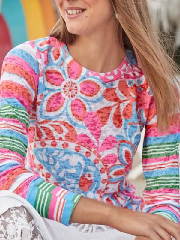 Pink Cotton-Blend Casual Printed Round Neck Tops