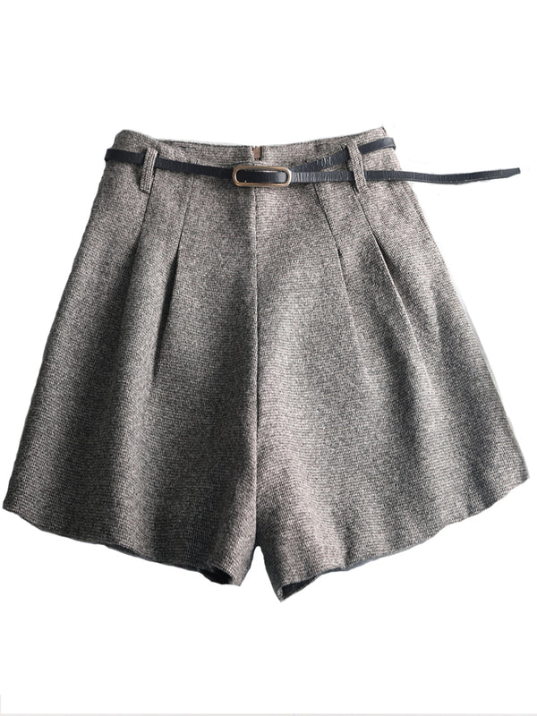 Gray Vintage Solid Pants Woolen shorts