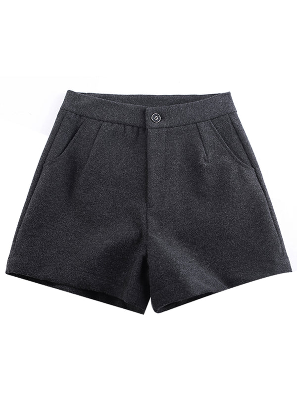 Vintage Solid Pants Woolen shorts