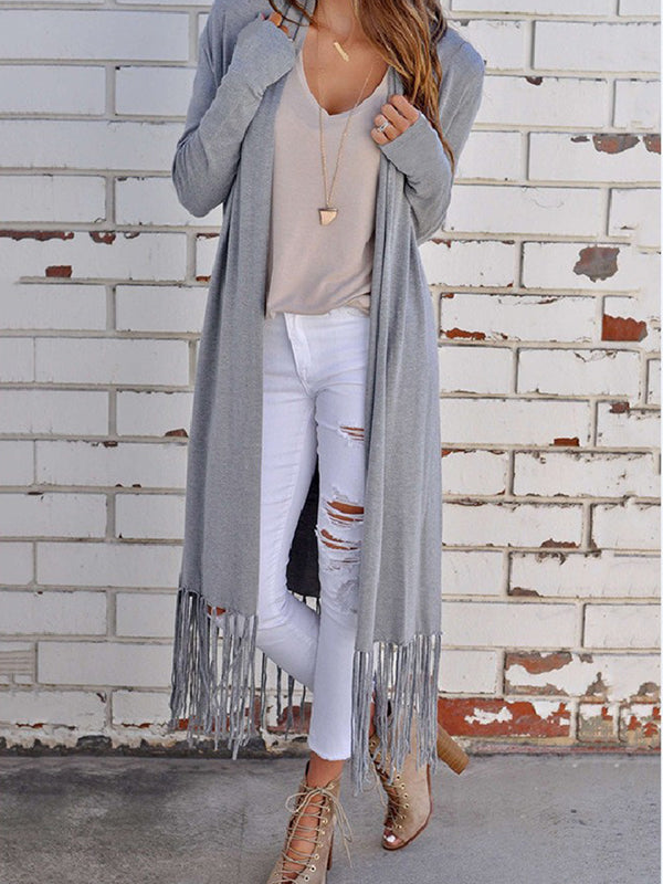 Casual Stripes Fringed Long Sleeve Polyester Cardigan
