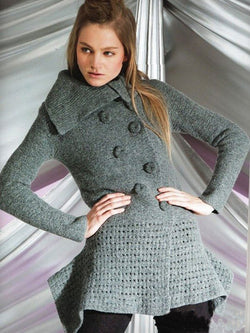 Gray Vintage Cotton Turn-Down Collar Sweater