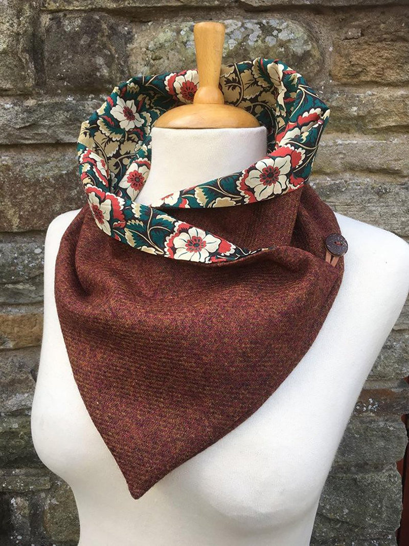 Floral print lined scarf