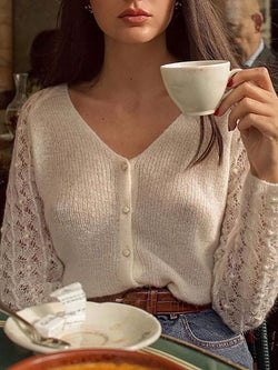 Openwork long-sleeved cardigan top